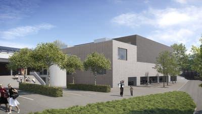 Am 11. März starten die Bauarbeiten für die Dreifachturnhalle Hofmatten, die zusammen mit der bestehenden Halle zu ersten Doppel-Dreifachhalle des Kantons werden soll. (Visualisierung / zvg)