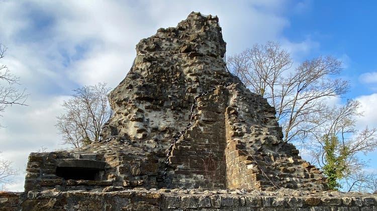 Die Burgruine oberhalb von Tegerfelden ist auf dem Fussweg nur mühsam zu erreichen. (Daniel Weissenbrunner)