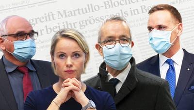 Die SVP-Gesundheitsdirektoren Schnegg (Bern), Rickli (Zürich), Weber (Baselland) und Gallati(Aargau; von links) tragen - anders als die Parteileitung - Verantwortung als Exekutivpolitiker. (Montage CHM)