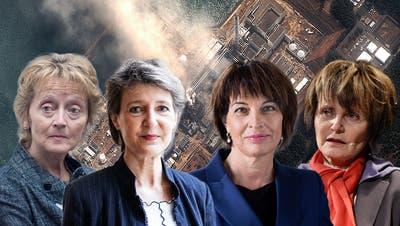 Vier Frauen für den Ausstieg (von links): Micheline Calmy-Rey (SP), Simonetta Sommaruga (SP), Doris Leuthard (CVP) und Eveline Widmer-Schlumpf (BDP). (Keystone)