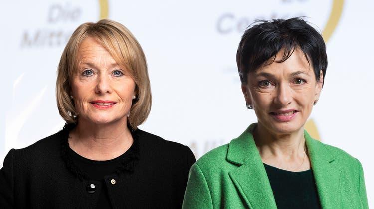 Zwei Frauen möchten Vizepräsidentin werden: die Nationalrätinnen Elisabeth Schneider-Schneiter (links) und Marianne Binder. (Fotos: Keystone, Montage:kob)