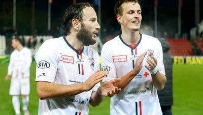 Hauptdarsteller einer starken Teamleistung: Shkelzen Gashi (links) und Leon Bergsma, die für alle drei Tore beim 3:0 gegen Wil besorgt waren. (Marc Schumacher / freshfocus)