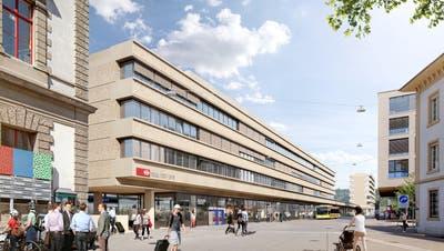 So wollen die SBB den neuen Bahnhof bauen: Vorne das eigentliche Bahnhofsgebäude anschliessend ans Palazzo (links). Hinten der neue Büro- und Wohnbau. (Visualisierung: SBB)