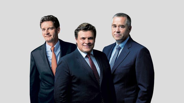 Vom Gründertrio Urs Wietlisbach, Alfred Gantner und Marcel Erni (von links) erhält heuer jeder 37 Millionen Franken Dividende. (Bild: Gian Marco Castelberg)