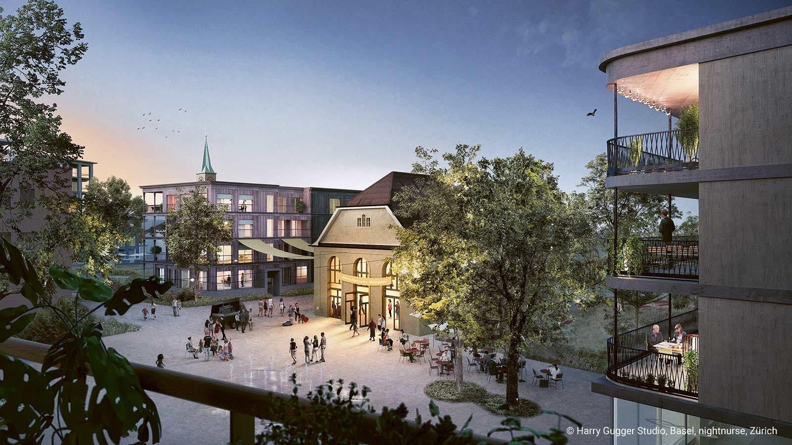 Der neue Lavaterplatz. Im Zentrum: Die alte Dorfturnhalle. Sie wird saniert.