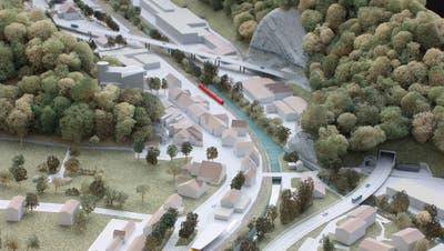Dieses Modell zeigt, wie die Verkehrsanbindung Thal das Städtchen Klus entlasten soll. Balsthal soll an das Projekt 8 Mio. Franken beisteuern. (zvg)