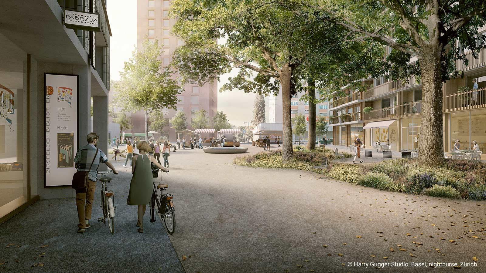 Der neu gestaltete Zentrumsplatz in Blickrichtung Süden, im Hintergrund: Das geplante Hochhaus am Birsstegweg.