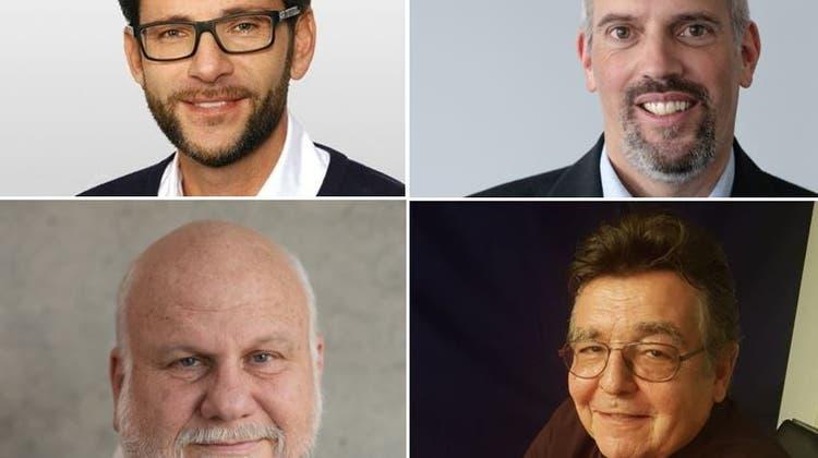 Die vier KandidatenFlavio Zani (oben links),Adrian Mayr (oben rechts),Peter Grass (unten links) undMario Hofer (unten rechts). (AZ)