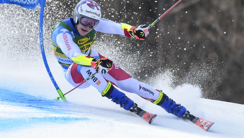 Switzerland's Marco Odermatt competes during an alpine ski, World Cup men's giant slalom in Kranjska Gora, Slovenia, Saturday, March 13, 2021. (AP Photo/Marco Tacca) (Marco Tacca / AP)