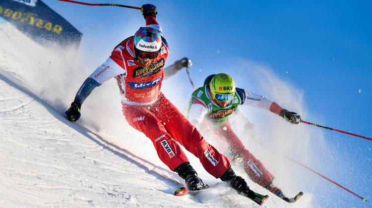 So spektakulär wie Feuz in Kitzbühel: Alex Fiva(vorne) unterwegs zu seinem WM-Titel in Idre Fjall in Nordschweden. (Pontus Lundahl / AP)