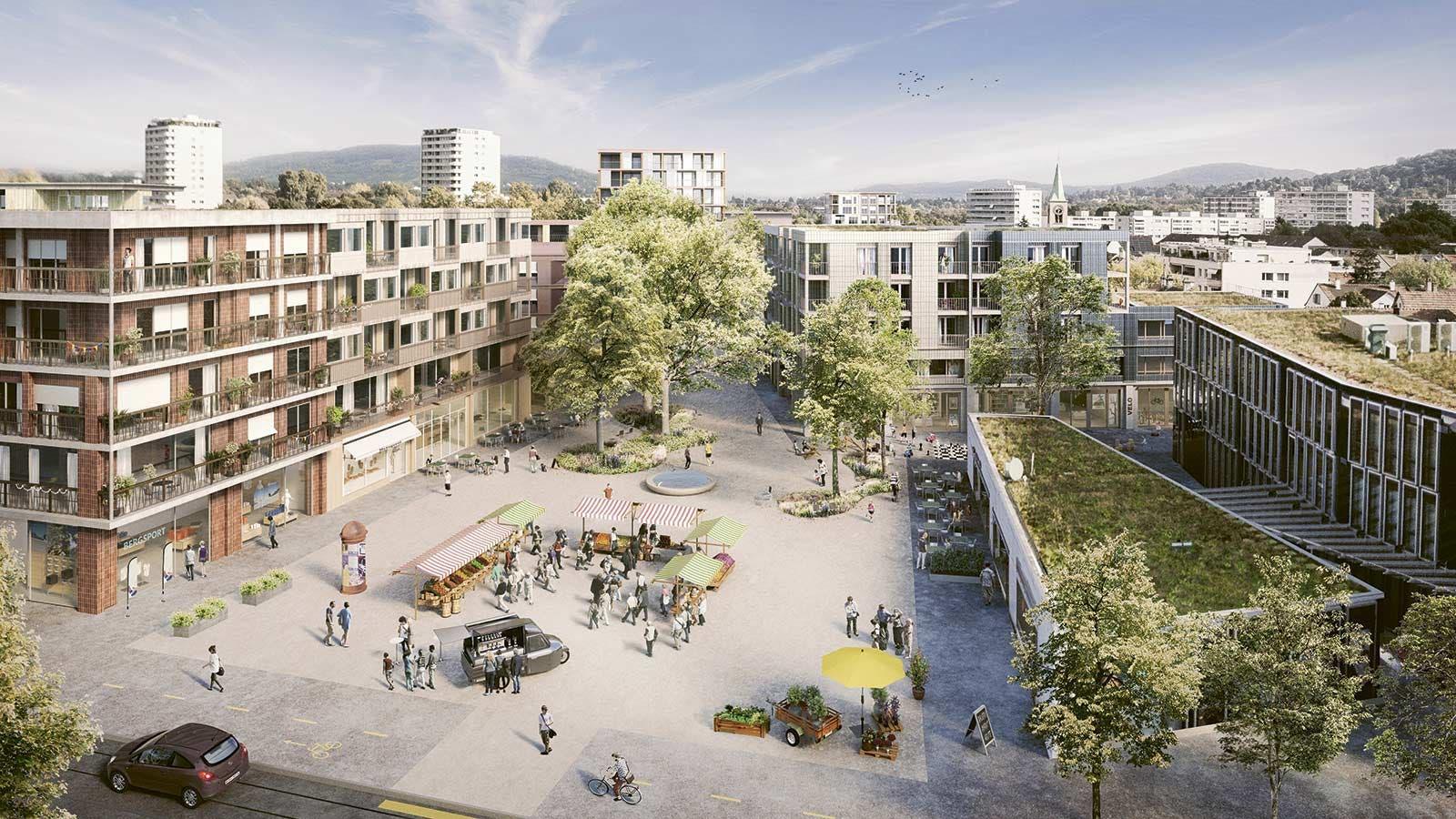 Blick auf den Zentrumsplatz, am unteren Bildrand ist die 3er-Tramhaltestelle Schulstrasse. Statt Parkplätzen hat es jetzt Platz für Menschen.