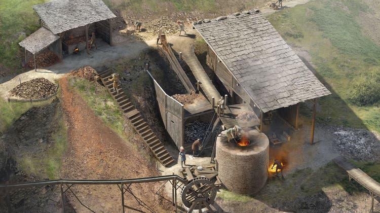 Rekonstruktion des Hochofens aus dem 13. Jahrhundert. Beim zweiräumigen Werkgebäude wurde links das Dach nicht eingezeichnet, um Einblick ins Innere zu ermöglichen. (Bild: zvg/Joe Rohrer)
