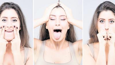Sieht teilweise lustig aus, ist aber sehr wirkungsvoll: Gesichtsyoga soll die Haut straffen und den Alterungsprozess verlangsamen. (Bilder: Shutterstoc)