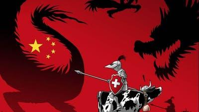 Im Angesicht des Drachen: Die Schweiz hat jetzt eine China-Strategie. (Cartoon: Silvan Wegmann)