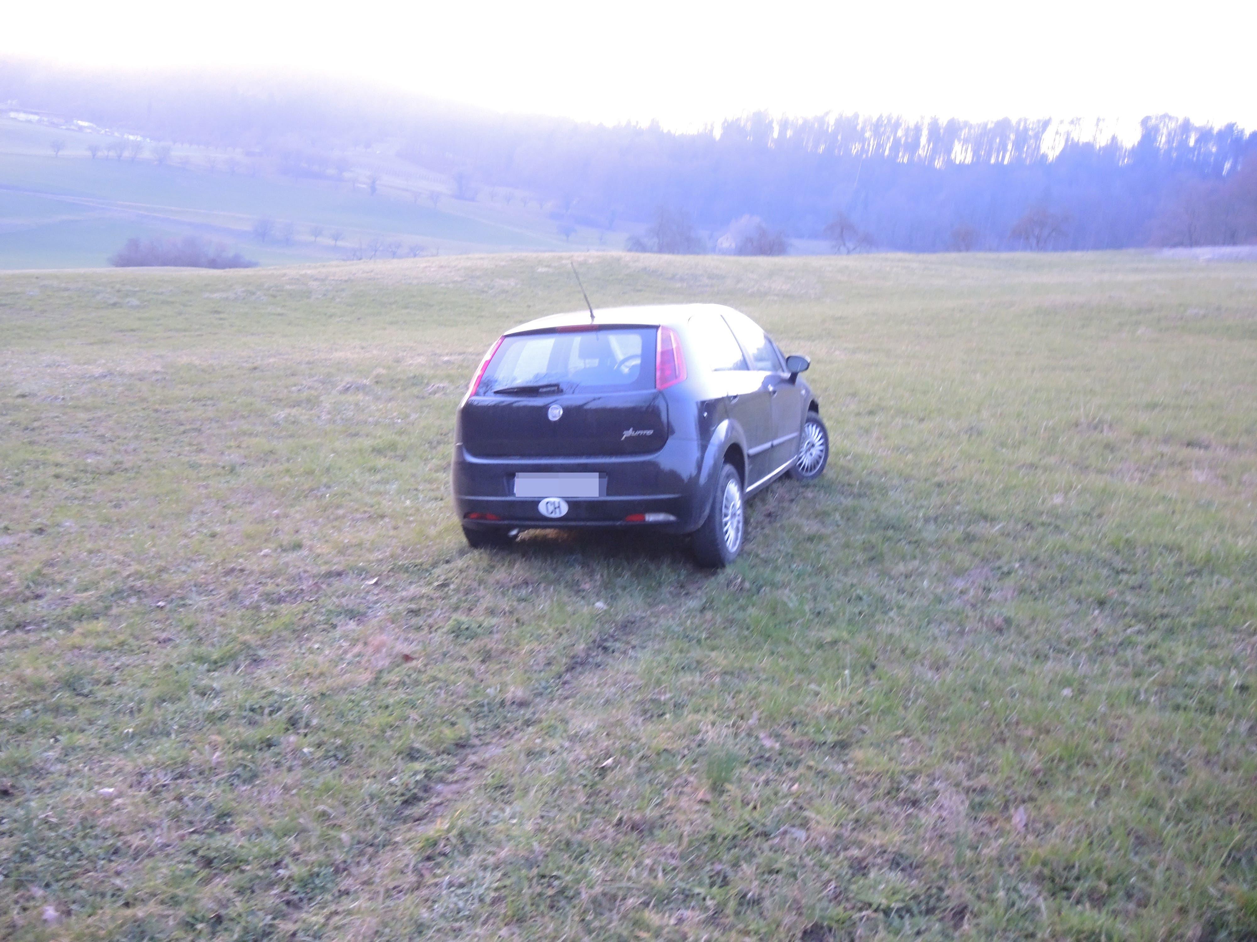 Bilder der Kantonspolizei Aargau zum Ausweichmanöver und Fahrzeugschaden in Will am 01.03.21