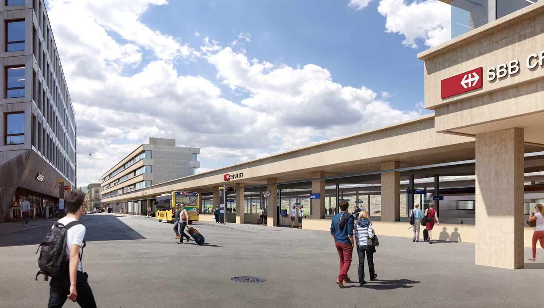 So sieht die aktuelle SBB-Visualisierung des neuen Liestaler Bahnhof-Ensembles aus. (Visualisierung: zVg SBB)