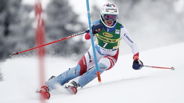 Switzerland's Michelle Gisin competes during the first run of an alpine ski, World Cup women's slalom in Jasna, Slovakia, Saturday, March 6, 2021. (AP Photo/Gabriele Facciotti) (Gabriele Facciotti / AP)