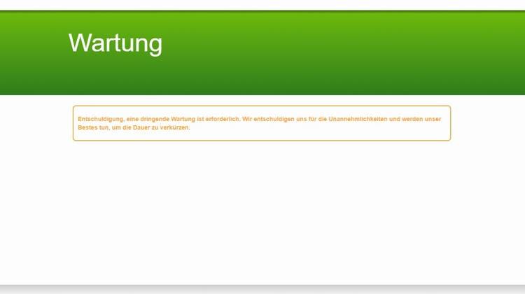 Derzeit befindet sich die Homepage in «Wartung». (Screenshot)