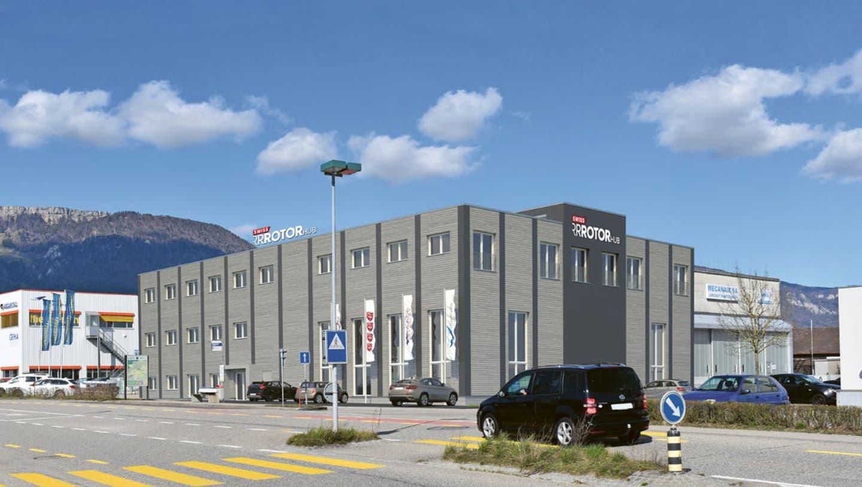 Visualisierung neues Helikopter Kompetenzzentrum der  Centaurium Aviation Ltd, die anstelle des Farner Hangars einen Neubau erstellen will (zvg)