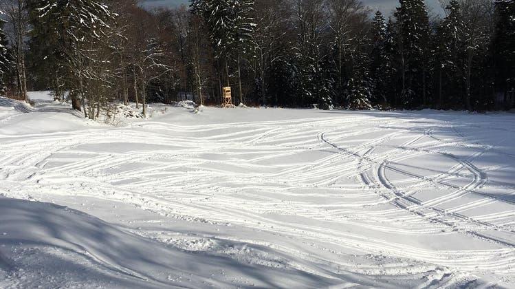 Spuren von illegalen Schneetöfffahrten auf dem Grenchenberg, aufgenommen unterhalb des Restaurants Stierenberg. (zvg)