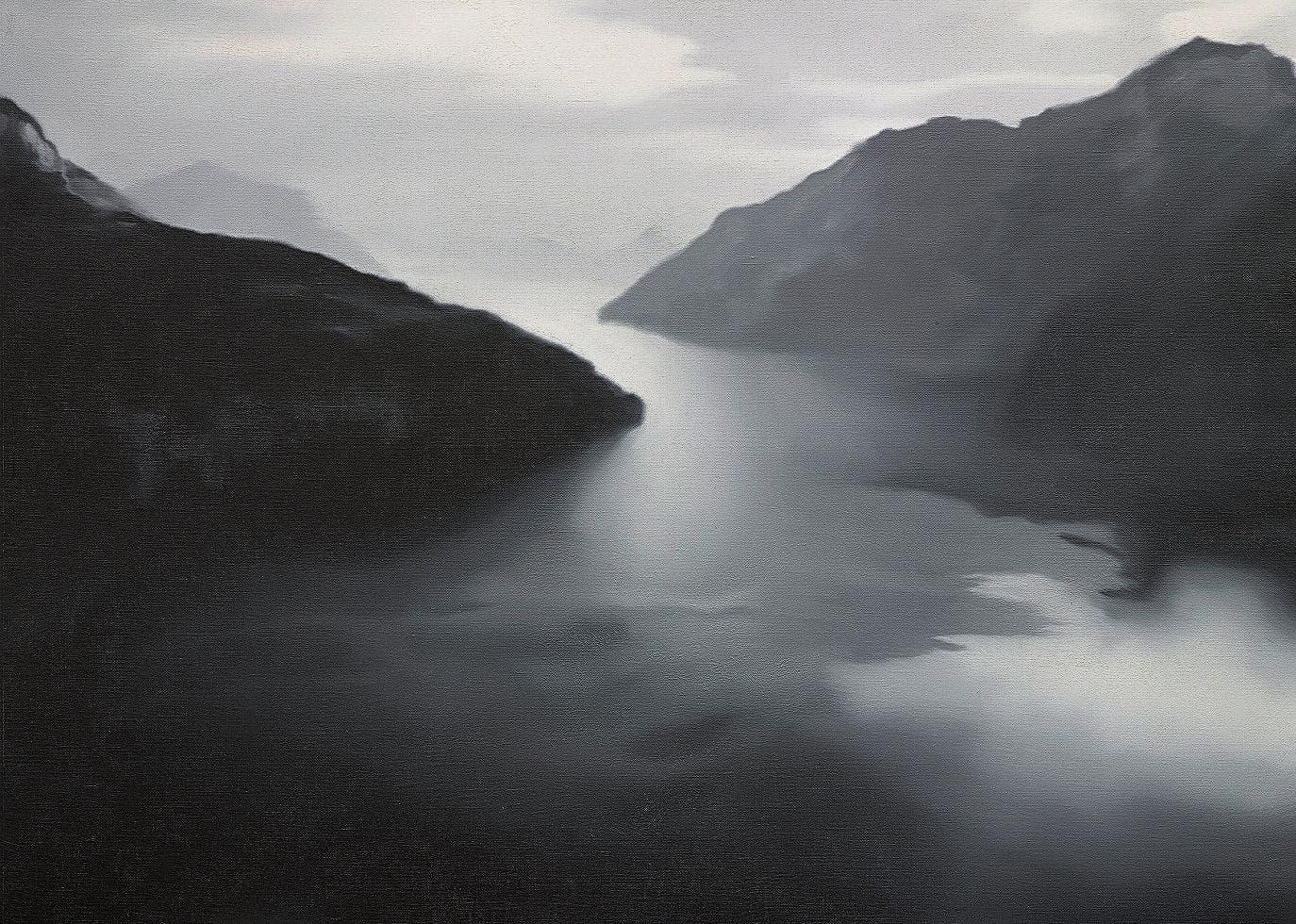 «Vierwaldstättersee», 1989. «St. Moritz», 1992. Öl auf Leinwand. Gerhard Richter schätzt weiche Fotobilder. «Eis», 1981. Gerhard Richter: «Davos» 1981, Öl auf Leinwand.