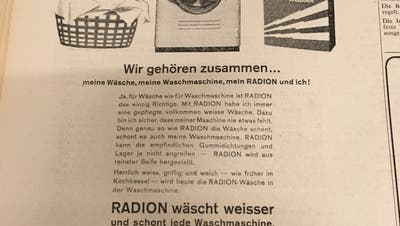 Der WaschmittelherstellerRadion wirbt am 4. Oktober 1958 mit dieser Anzeige im «Tagblatt». (Bild: Tagblatt-Archiv/Jolanda Riedener)