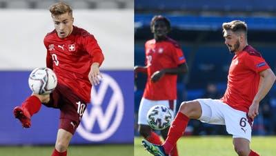 Treffen auf ihre zweite Heimat Kroatien: Die U21-Nationalspieler Petar Pusic (links) und Toni Domgjoni. (Bilder: Keystone und Freshfocus)