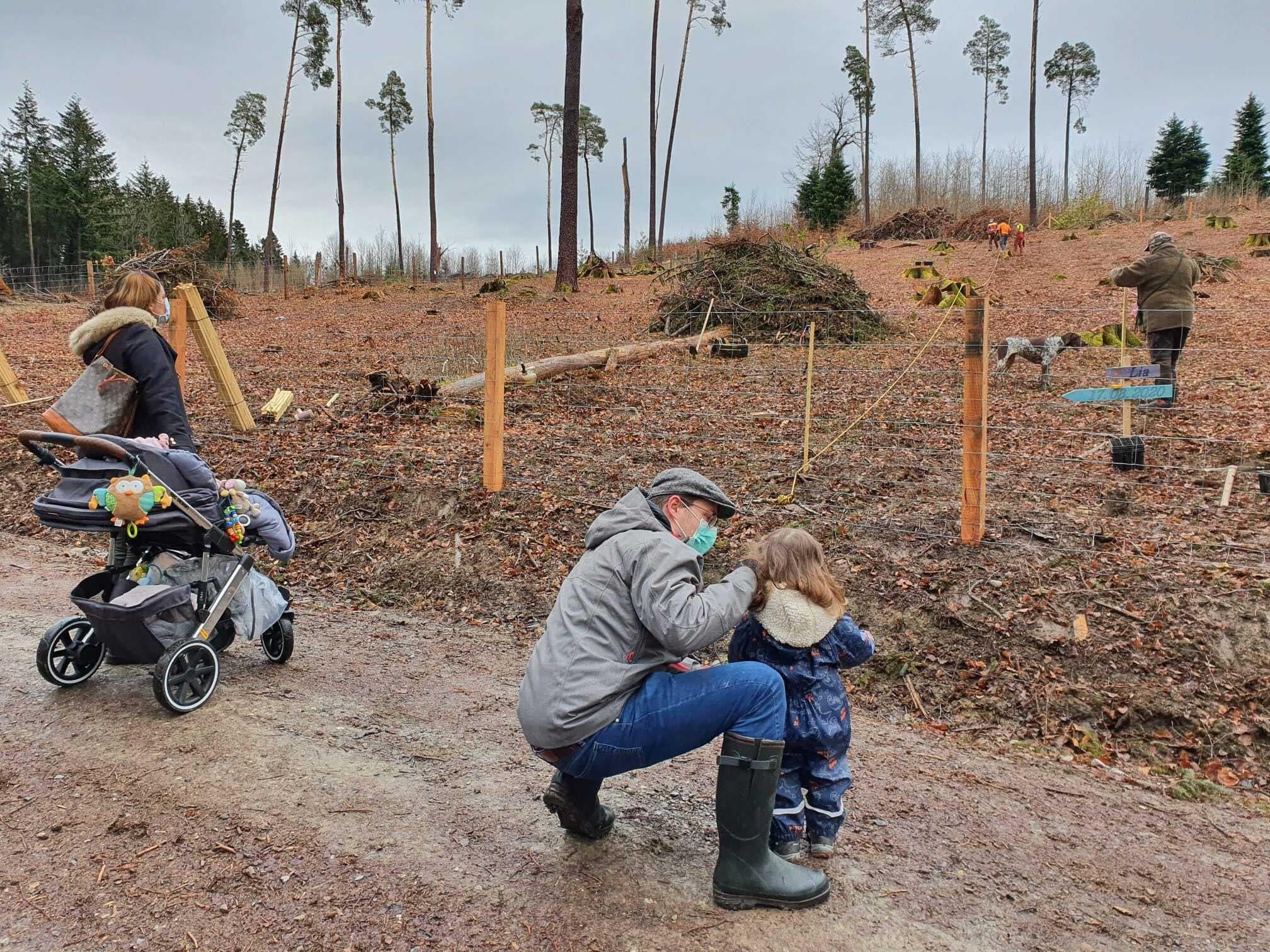 Im Ischlag fand am 27.3. eine Baumpflanzaktion statt. 75 Eichen wurden von Familien gekennzeichnet.
