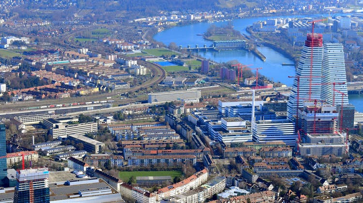 Unsere kleine Stadt im Werden: Luftbild von Basel. (Bild: Erich Meyer (Archiv))