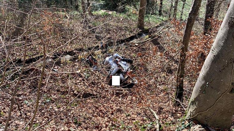Die Motorradfahrerin kam von der Strasse ab, prallte gegen einen Baum und stürzte samt ihrem Motorrad etwa vier Meter eine Böschung hinab. (Kapo Zürich)