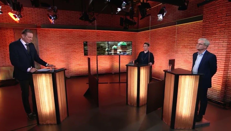 Doris Kleck und Markus Somm im Streitgespräch bei Moderator Oliver Steffen. (TeleZüri)