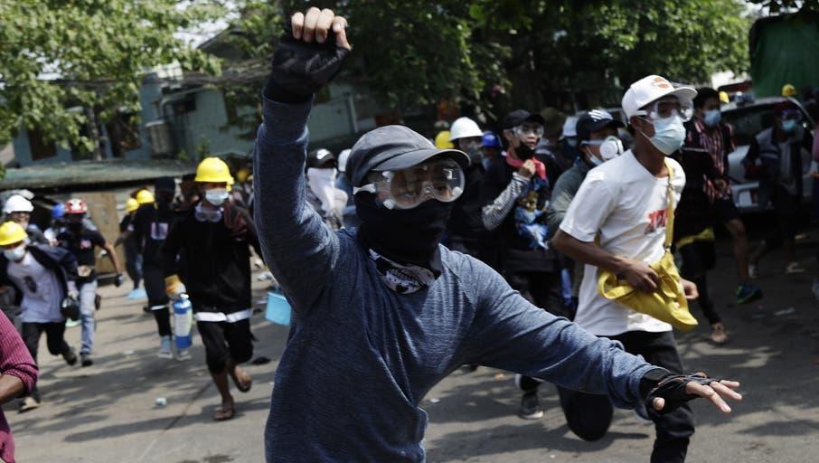 Demonstranten in Myanmar. (Keystone)