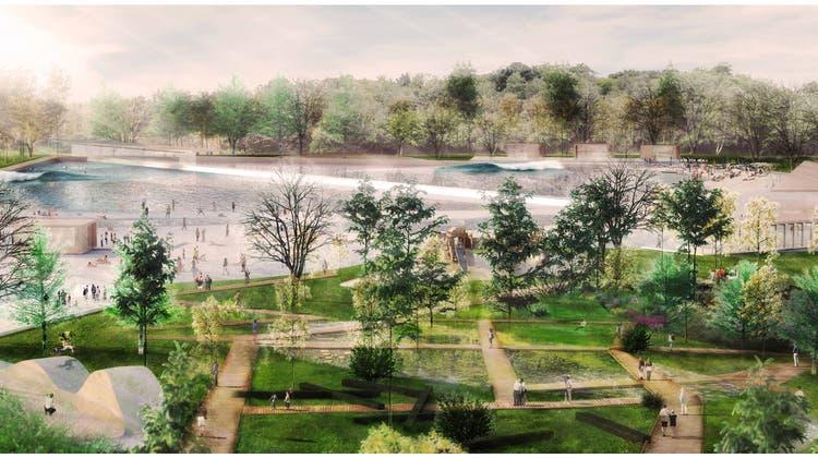 So soll es dereinst im Zürcher Unterland aussehen: der geplante Surfpark in Regensdorf. (Visualisierung: zvg/Enzo Enea)