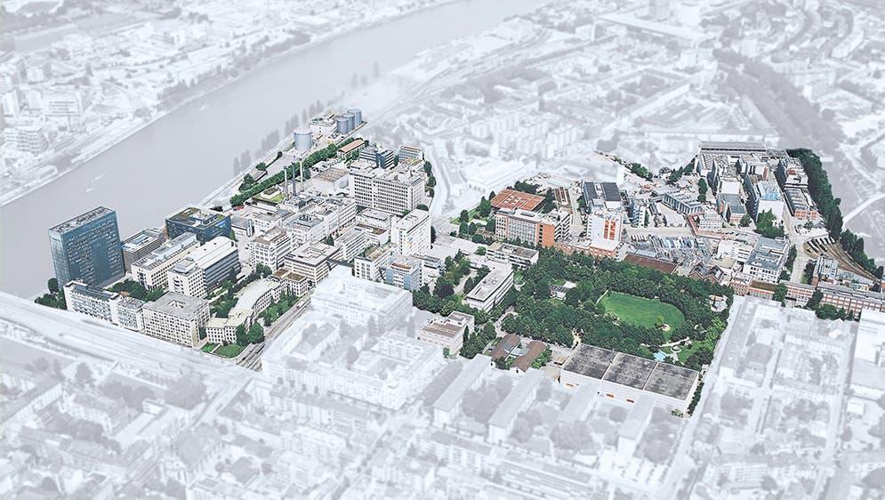 «Klybeckplus» heisst das Projekt: Beim Areal handelt es sich um ehemalige Werkgebäude von BASF und Novartis. (Visualisierung:zvg)