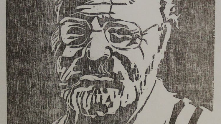 Hans Rudolf Zuber, Selbstporträt, Holzschnitt (zvg)