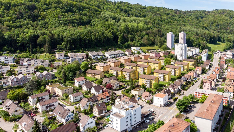 Blick auf das Badener Kappelerhof-Quartier, das die Stadt mit der Gemeinde Turgi verbindet. (Sandra Ardizzone / BAD)