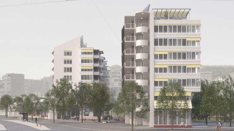So sollen die beiden Wohnblöcke der geplanten Überbauung im Guggach-Areal aussehen. (zvg/Stiftung Einfach Wohnen)
