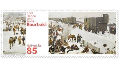 Die Briefmarke zur Erinnerung an die Bourbaki-Internierung. (Bild: PD)