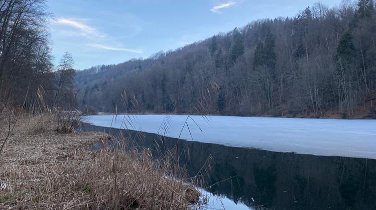 Der Egelsee ist noch zu grossen Teilen zugefroren. Aber der Frühling erwacht. (David Egger / Limmattaler Zeitung)
