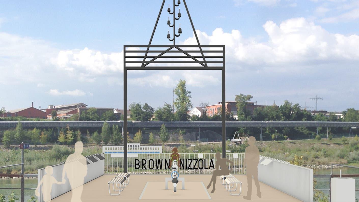 Am Brückenkopf des alten Rheinstegs soll die Brown-Nizzola-Plattformzu Ehren von Charles E.L. Brown und Agostino Nizzola entstehen. (Visualisierung: zvg)