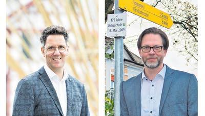 Andreas Müller und Michael Stäheli-Engel kandidierten für das Amt des Schulpräsidenten in Amriswil. Die Wählerinnen und Wähler entschieden sich deutlich für Michael Stäheli. (Bilder: Donato Caspari und Manuel Nagel)