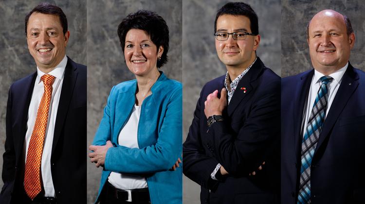 Sie gehen in den zweiten Wahlgang: Thomas A.Müllerund Sandra Kolly (beide CVP), Richard Aschberger (SVP) und Peter Hodel (FDP).