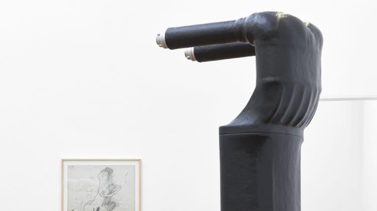 Das Publikum überwacht die Ausstellung von Lydia Ourahmane gleich selbst. (Philipp Hänger)