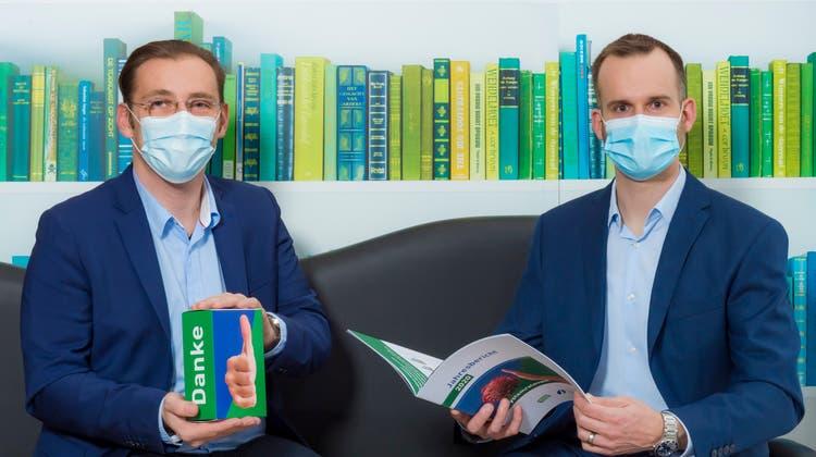 Spitex Region Lenzburg. v.r. Martin Imhof, Vereinspräsident und Daniel Lukic, Vorsitzender der Geschäftsleitung. (Fabio Confessore / Digital)