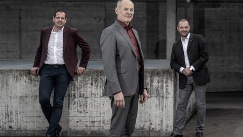 Der Verwaltungsrat der Verkehrsbetriebe Luzern (VBL). Von links: Kurt Moll, Renzo Simoni und Patrick Bieri. (Bild: Pius Amrein  (Luzern, 9. März 2021))