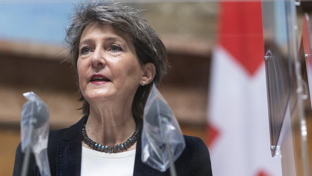 Bundesrätin und Verkehrsministerin Simonetta Sommaruga. Während des ersten Coronajahres war sie die Bundespräsidentin der Schweiz. (Keystone)