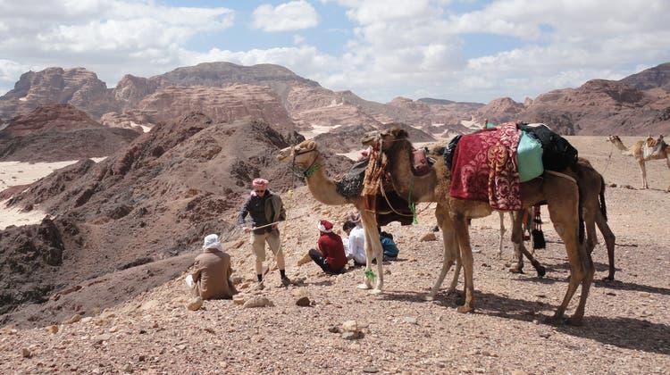 Zu Fuss oder zu Kamel ist die Reisegruppe von Dorothee Fischer unterwegs. (Bild: zvg)