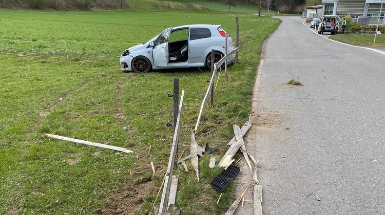 Am Auto entstand ein beträchtlicher Schaden. (Bild: zvg / Polizei AG)