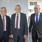 Die Alt-Bundesräte Arnold Koller, Kaspar Villiger und Adolf Ogi (v.l.). (Keystone)