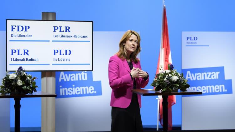 FDP-Präsidentin Petra Gössi an der ausserordentlichen Delegiertenversammlung vom Montag. (Keystone)